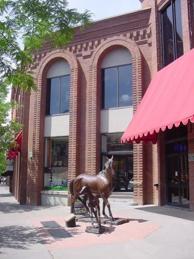 outdoor sculpture at the downtown durango mall